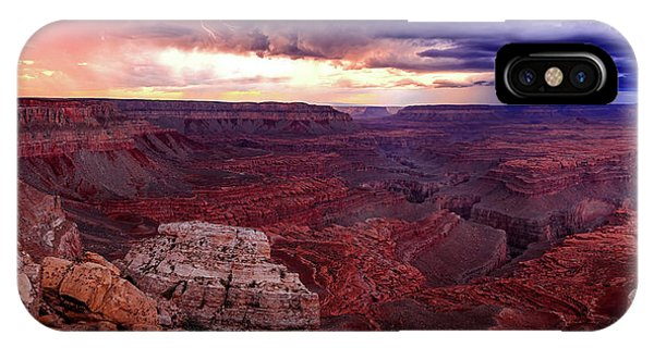 Grand Canyon Lightning Panorama Phone Case by Johnny Adolphson