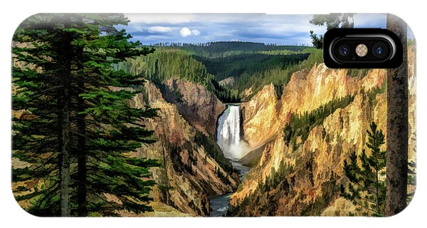 IPhone Case featuring the painting Grand Canyon Of The Yellowstone Waterfall by Christopher Arndt