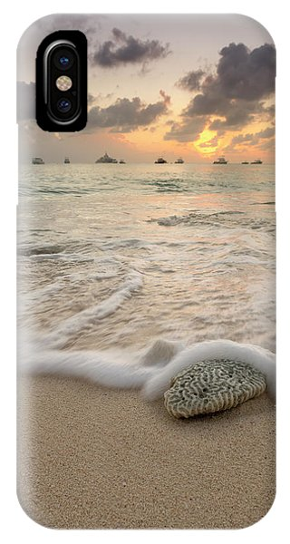 IPhone Case featuring the photograph Grand Cayman Beach Coral Waves At Sunset by Adam Romanowicz