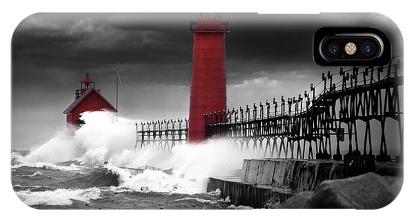 Grand Haven Lighthouse In A Rain Storm IPhone Case