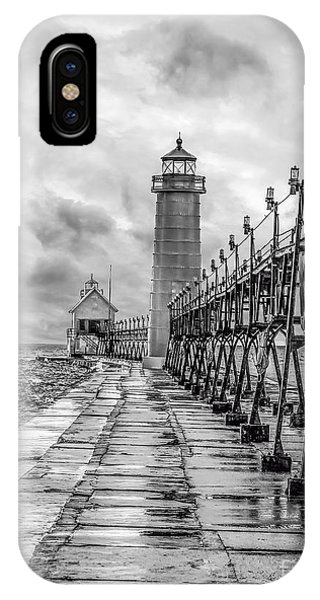 Grand Haven Lighthouse - Monochome IPhone Case
