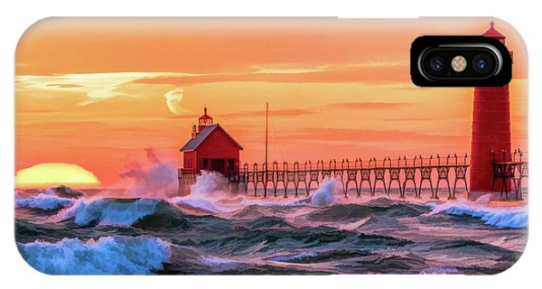 IPhone Case featuring the painting Grand Haven Lighthouses by Christopher Arndt