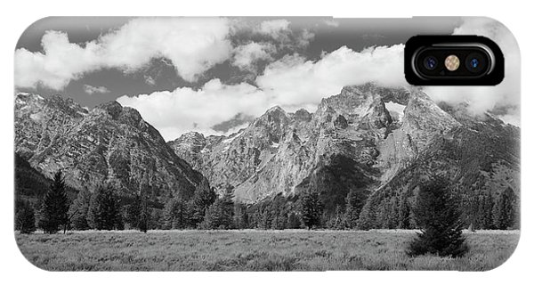 Grand Tetons In Black And White IPhone Case