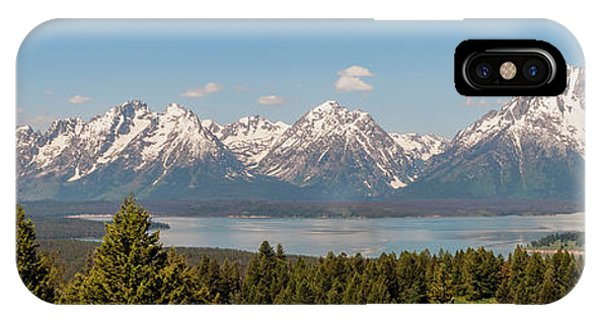 Grand Tetons Over Jackson Lake Panorama IPhone Case