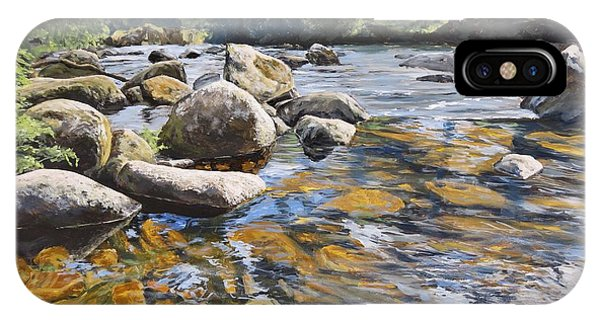 IPhone Case featuring the painting Granite Boulders East Okement River by Lawrence Dyer