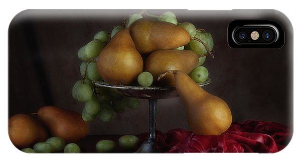 Green Grape iPhone Case - Grapes And Pears Centerpiece by Tom Mc Nemar
