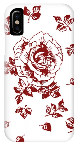 Close Up Floral iPhone Case - Graphic Red Rose With Leaves by Masha Batkova