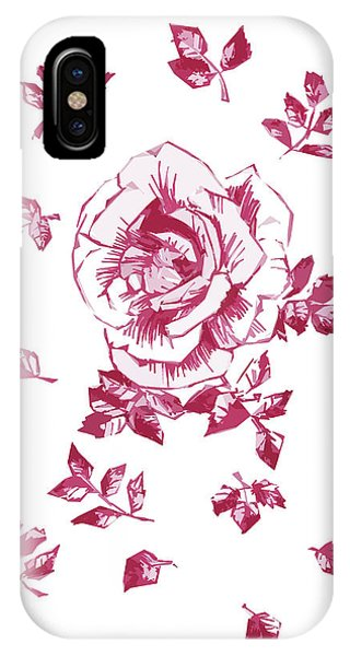 Close Up Floral iPhone Case - Graphic Pink Rose With Leaves by Masha Batkova
