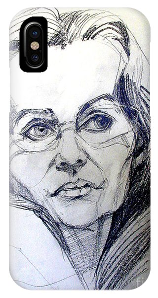 Graphite Portrait Sketch Of A Woman With Glasses IPhone Case