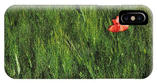 Grassland And Red Poppy Flower 2 IPhone Case