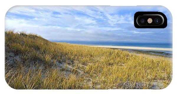 Grassy Sand Dunes Overlooking The Beach IPhone Case