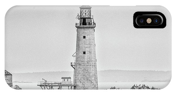 Graves Lighthouse- Boston, Ma - Black And White IPhone Case