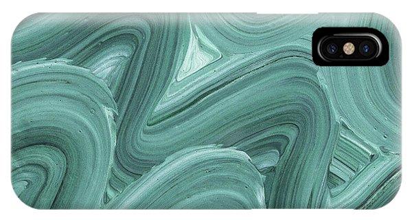 Organic Abstraction iPhone Case - Gray Blue Waves Organic Abstract For Interior Decor X by Irina Sztukowski