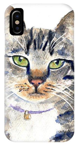 Watercolor Pet Portraits iPhone Case - Gray Tabby Cat Watercolor by Carlin Blahnik CarlinArtWatercolor