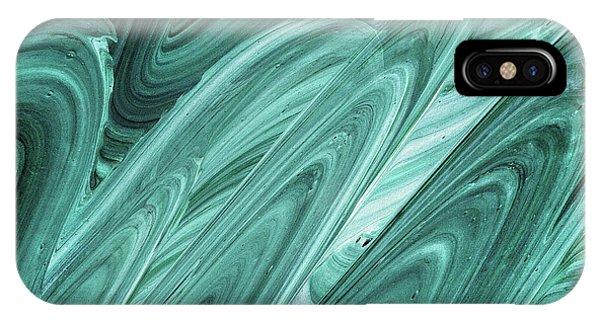 Organic Abstraction iPhone Case - Gray Teal Waves Organic Abstract For Interior Decor Xi by Irina Sztukowski