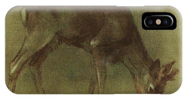 Grazing Roe Deer Oil Painting IPhone Case