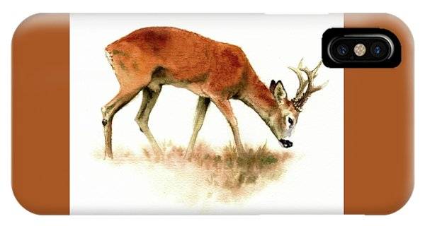 Grazing Roebuck Watercolor IPhone Case