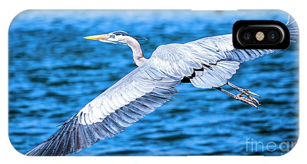IPhone Case featuring the photograph Great Blue Heron Flight by David Millenheft