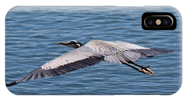 Great Blue Heron Flying Over Morro Bay IPhone Case