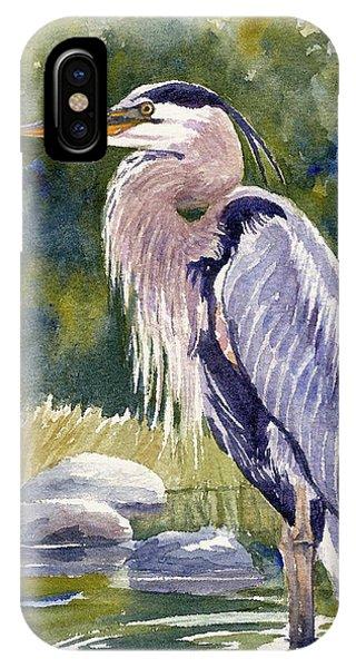 Great Blue Heron In A Stream IPhone Case