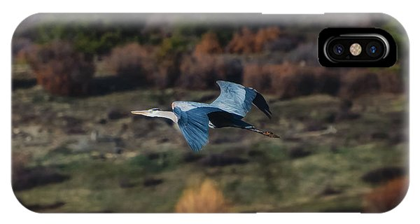 IPhone Case featuring the photograph Great Blue Heron In Flight II by Jason Coward