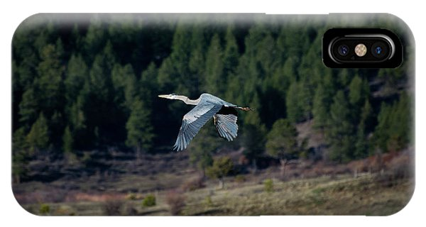 IPhone Case featuring the photograph Great Blue Heron In Flight by Jason Coward