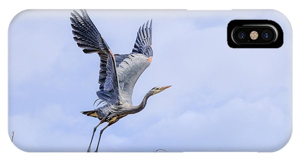 Great Blue Heron In Flight IPhone Case