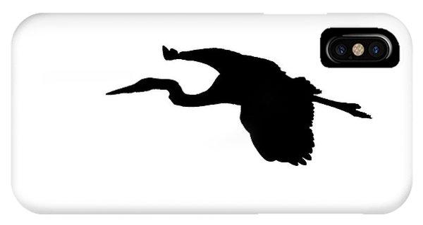 Great Blue Heron In Flight Silhouette IPhone Case