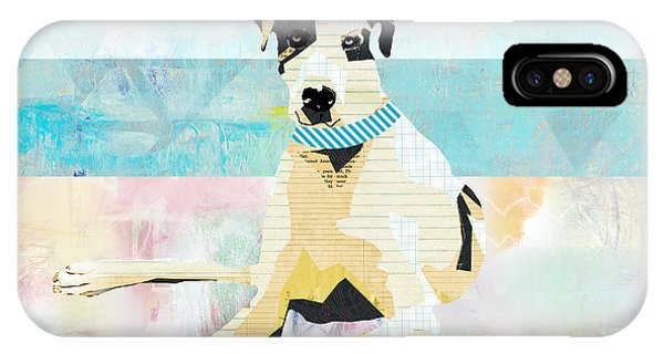 Pastel Colors iPhone Case - Great Dane At The Beach by Claudia Schoen
