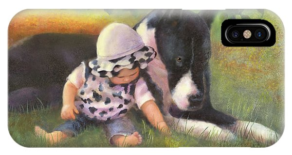 IPhone Case featuring the painting Great Dane With Baby by Nancy Lee Moran
