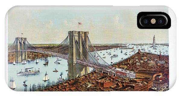 Great East River Suspension Bridge 1892 IPhone Case