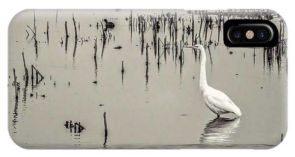 Horicon Marsh iPhone Case - Great Egret At Horicon - B - W  by Mark Fuge