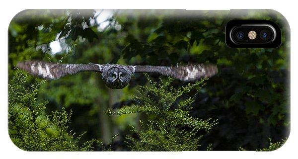 Great Grey Owl In Flight IPhone Case