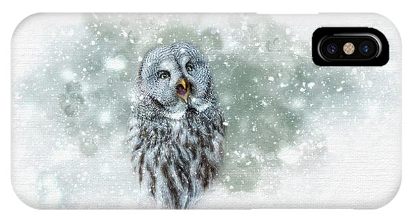 Great Grey Owl In Snowstorm IPhone Case