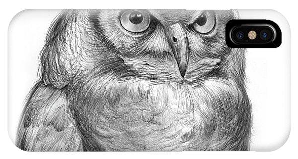 Horn iPhone Case - Great Horned Owl by Greg Joens