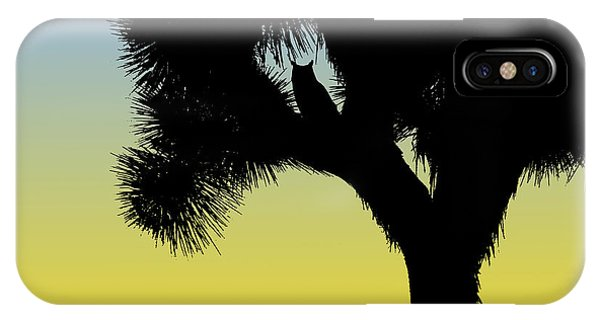 Great Horned Owl In A Joshua Tree Silhouette At Sunrise IPhone Case