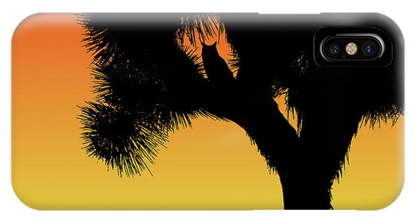 Great Horned Owl In A Joshua Tree Silhouette At Sunset IPhone Case