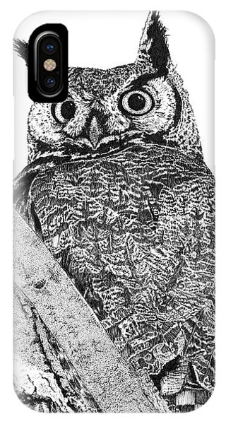 Great Horned Owl In A Tamarisk IPhone Case