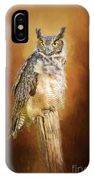 Great Horned Owl In Autumn IPhone Case