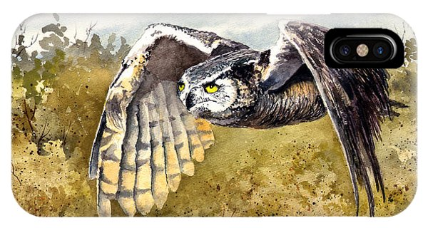 Great Horned Owl In Flight IPhone Case
