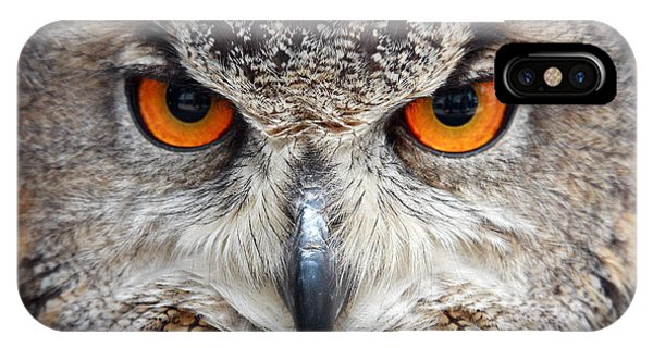 Eyes iPhone Case - Great Horned Owl by Pierre Leclerc Photography