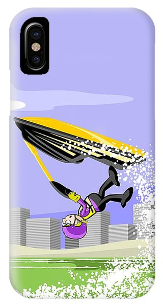 Jet Ski iPhone Case - Great Jump Over The Sea On A Yellow Jet Ski by Daniel Ghioldi