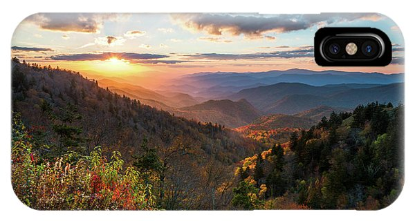 Great Smoky Mountains National Park Nc Scenic Autumn Sunset Landscape IPhone Case