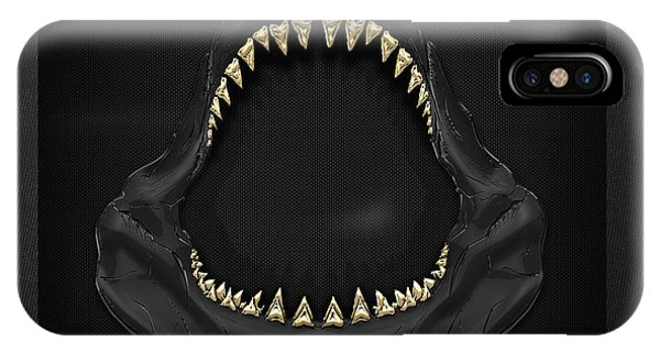 Pop Art iPhone Case - Great White Shark Jaws With Gold Teeth  by Serge Averbukh
