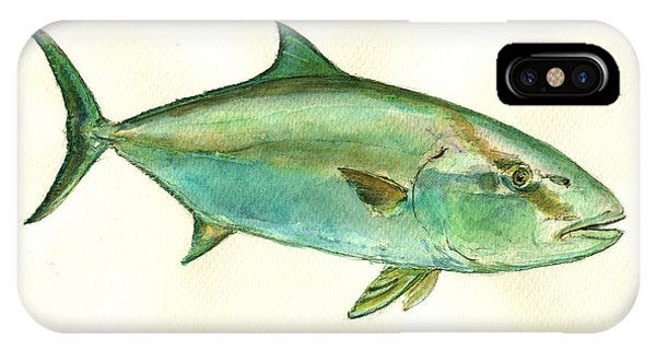 Nautical iPhone Case - Greater Amberjack Fish by Juan  Bosco