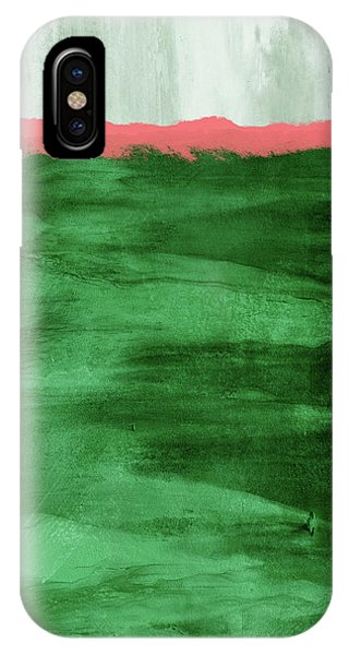 Sky iPhone Case - Green And Coral Landscape- Abstract Art By Linda Woods by Linda Woods