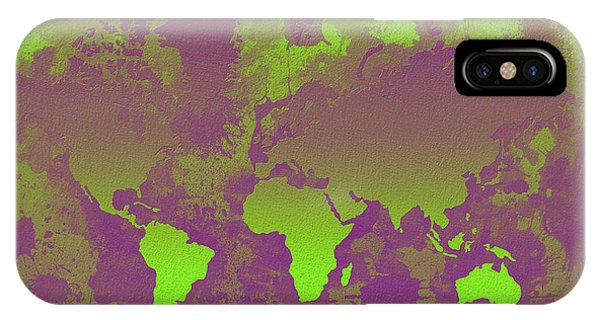 New Trend iPhone Case - Green And Purple World Map by Zaira Dzhaubaeva
