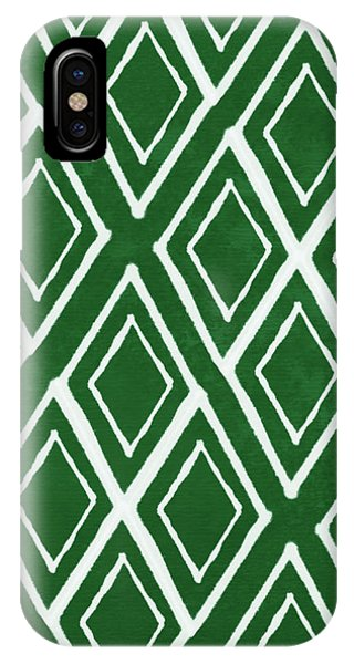 Diamond iPhone Case - Green And White Diamonds- Art By Linda Woods by Linda Woods