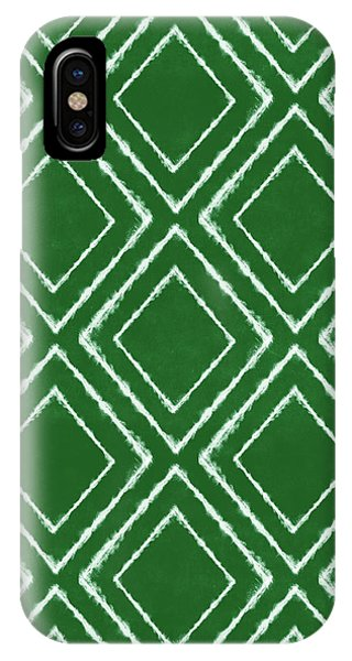 Diamond iPhone Case - Green And White Inky Diamonds- Art By Linda Woods by Linda Woods
