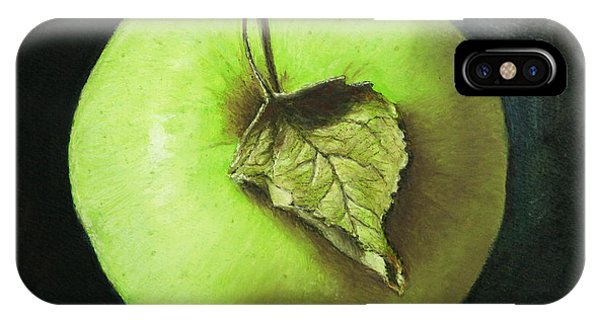 Green Apple With Leaf IPhone Case
